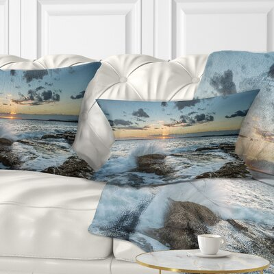 Bright Sydney Sunset over Sea Seascape Pillow Size: 12 x 20, Product Type: Lumbar Pillow