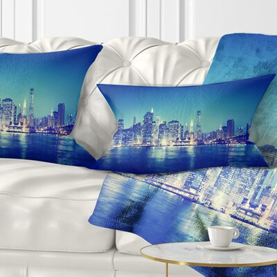 New York City at Night Panorama Cityscape Pillow Size: 12 x 20, Product Type: Lumbar pillow