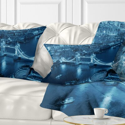 London Night Aerial View Cityscape Pillow Size: 12 x 20, Product Type: Lumbar Pillow