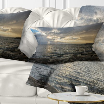 Cloudy Australian Seashore in Sydney Seashore Pillow Size: 12 x 20, Product Type: Lumbar Pillow