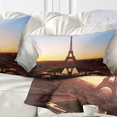 Silhouette of Paris Eiffel Tower Cityscape Pillow Size: 12 x 20, Product Type: Lumbar Pillow