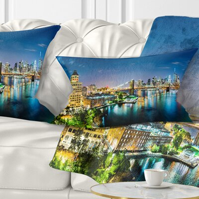 New York City Panoramic View Cityscape Pillow Size: 12 x 20, Product Type: Lumbar Pillow