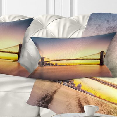 Brooklyn Bridge Panorama Sky Cityscape Pillow Size: 12 x 20, Product Type: Lumbar Pillow