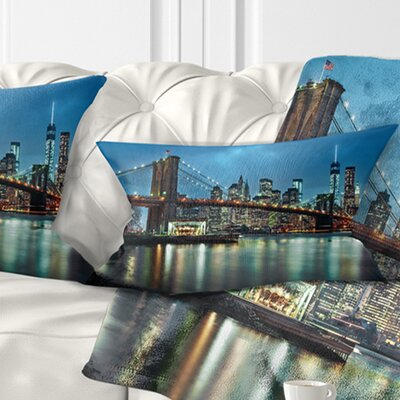 Brooklyn Bridge and Skyscrapers Cityscape Pillow Size: 12 x 20, Product Type: Lumbar Pillow