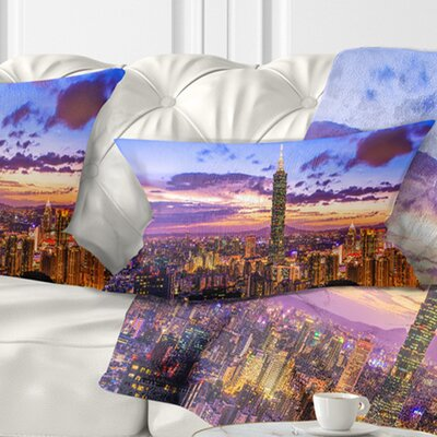 City of Taipei at Sunset Cityscape Pillow Size: 12 x 20, Product Type: Lumbar Pillow