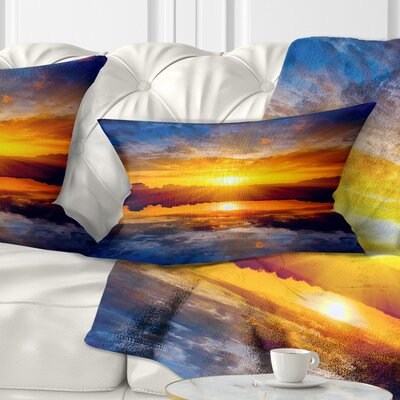 Bright Sunset over Lake Seashore Pillow Size: 12 x 20, Product Type: Lumbar Pillow
