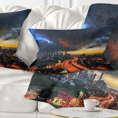 Busy Elevated Highway in Kula Lumpur Cityscape Pillow Size: 12 x 20, Product Type: Lumbar Pillow