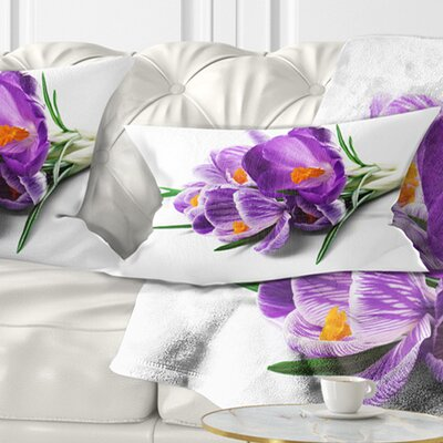 Bunch of Blooming Crocus Flowers Floral Pillow Size: 12 x 20, Product Type: Lumbar Pillow
