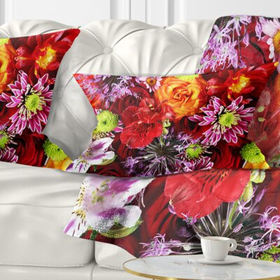 Flowers Background Floral Pillow Size: 12 x 20, Product Type: Lumbar Pillow