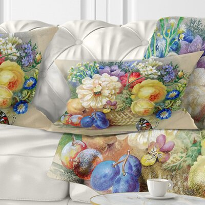 Bunch of Flowers and Fruits Floral Pillow Size: 12 x 20, Product Type: Lumbar Pillow