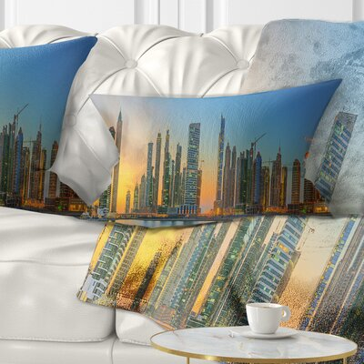 Business Bay and Downtown Dubai Cityscape Pillow Size: 12 x 20, Product Type: Lumbar Pillow