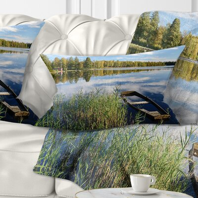 Beautiful Swedish September Lake Landscape Photography Pillow Size: 12 x 20, Product Type: Lumbar Pillow