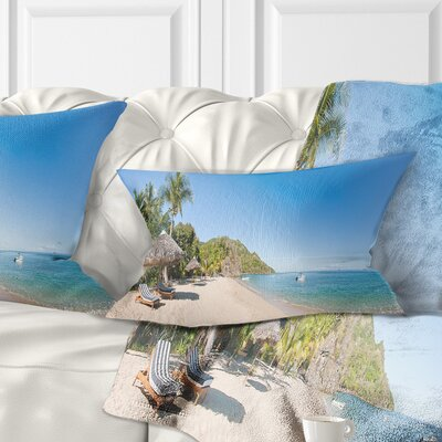 Beach with Chairs and Umbrellas Seashore Photo Pillow Size: 12 x 20, Product Type: Lumbar Pillow