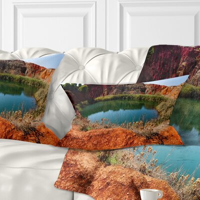 Bauxite Mine with Lake Landscape Photo Pillow Size: 12 x 20, Product Type: Lumbar Pillow