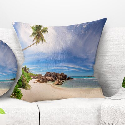Beautiful Beach at La Digue Seychelles Seashore Pillow Size: 16 x 16, Product Type: Throw Pillow