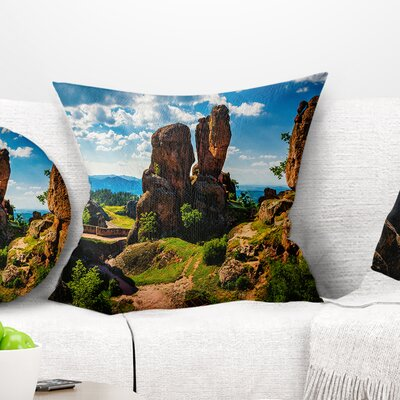 Belogradchik City Fortress and Cliffs Landscape Printed Pillow Size: 26