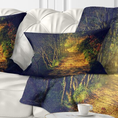 Autumn Forest Path in Sunshine Landscape Photography Pillow Size: 12 x 20, Product Type: Lumbar Pillow