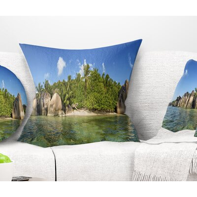 Anse Lazio Beach Seychelles Panorama Seashore Pillow Size: 16 x 16, Product Type: Throw Pillow