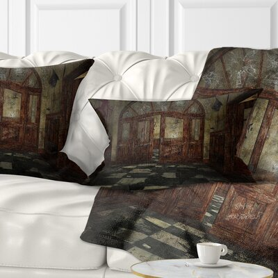 Abandoned Interior Landscape Painting Pillow Size: 12 x 20, Product Type: Lumbar Pillow