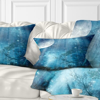 Big Moon in Forest Landscape Printed Pillow Size: 12 x 20, Product Type: Lumbar Pillow