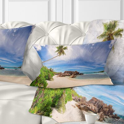 Beautiful Beach at La Digue Seychelles Seashore Pillow Size: 12 x 20, Product Type: Lumbar Pillow