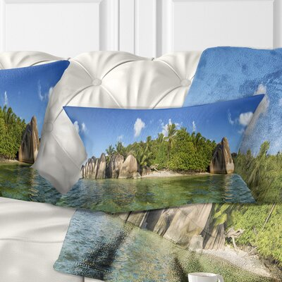 Anse Lazio Beach Seychelles Panorama Seashore Pillow Size: 12 x 20, Product Type: Lumbar Pillow