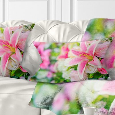 Beautiful Lily Flowers in Bouquet Floral Pillow Size: 12 x 20, Product Type: Lumbar Pillow