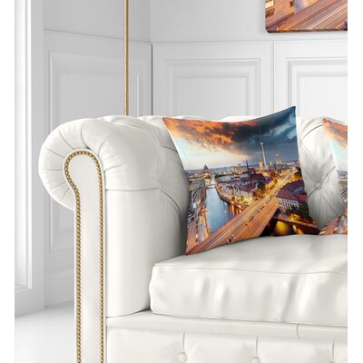 Berlin at Dawn with Dramatic Sky Cityscape Pillow Size: 26 x 26, Product Type: Euro Pillow