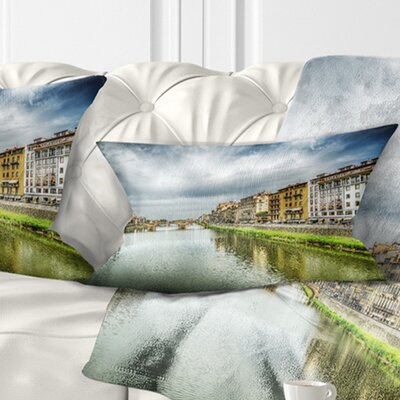 Arno River under Dramatic Sky Cityscape Pillow Size: 12 x 20, Product Type: Lumbar Pillow