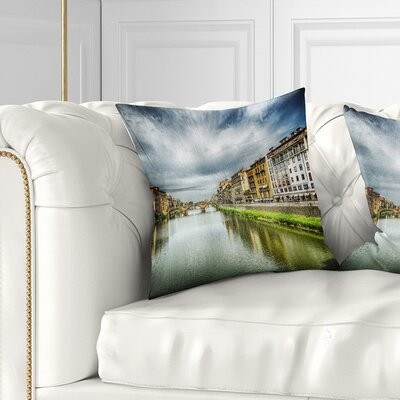 Arno River under Dramatic Sky Cityscape Pillow Size: 16 x 16, Product Type: Throw Pillow