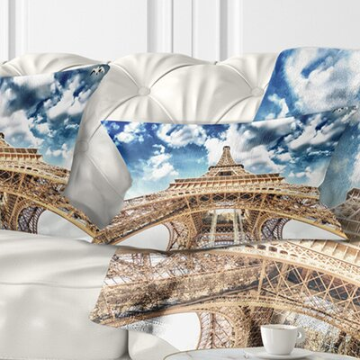 Beautiful View of Paris Eiffel Tower under Clouds Cityscape Pillow Size: 12 x 20, Product Type: Lumbar Pillow