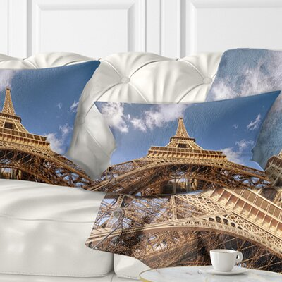 Beautiful View of Paris Eiffel Tower under Calm Sky Cityscape Pillow Size: 12 x 20, Product Type: Lumbar pillow