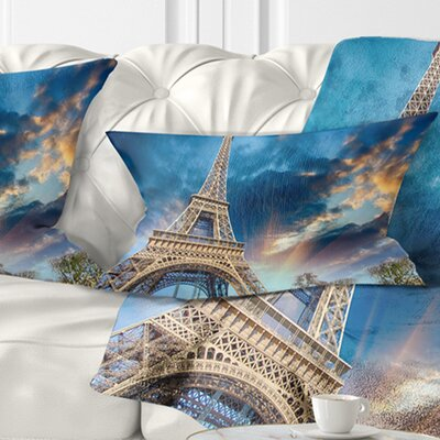 Beautiful View of Paris Eiffel Tower under Fiery Sky Cityscape Pillow Size: 12 x 20, Product Type: Lumbar pillow