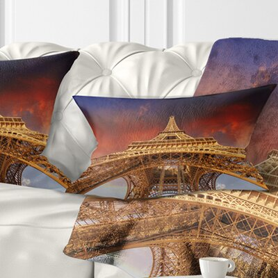 Beautiful View of Paris Eiffel Tower under Sky Cityscape Pillow Size: 12 x 20, Product Type: Lumbar pillow