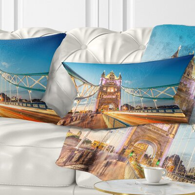 Beautiful View of Tower Bridge London Cityscape Pillow Size: 12 x 20, Product Type: Lumbar pillow