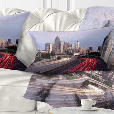Atlanta Georgia Rush Hour Traffic at Dusk Cityscape Pillow Size: 12 x 20, Product Type: Lumbar Pillow