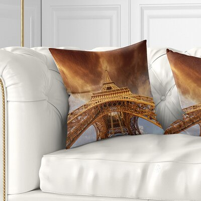 Beautiful View of Paris Eiffel Tower Size: 16 x 16, Product Type: Throw Pillow