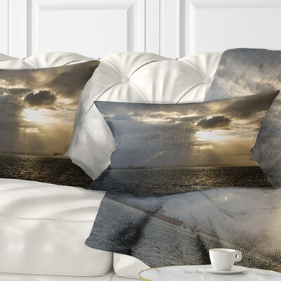 Beautiful Cloudy Sunset at Australia Beach Seashore Pillow Size: 12 x 20, Product Type: Lumbar Pillow