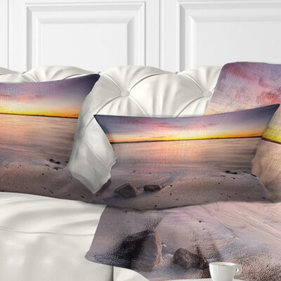 Beautiful Natural Sea during Sunrise Seashore Pillow Size: 12 x 20, Product Type: Lumbar Pillow