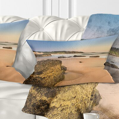 Beautiful Rocky Seashore at Norah Head Seashore Pillow Size: 12 x 20, Product Type: Lumbar Pillow