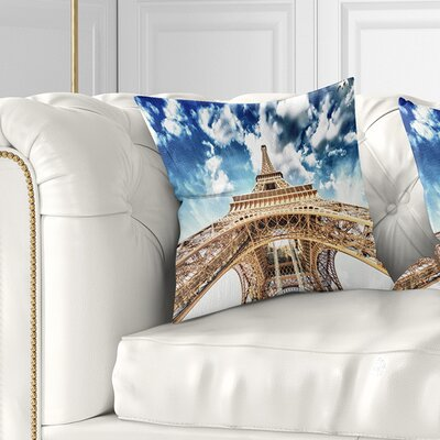 Beautiful View of Paris Eiffel Tower under Clouds Cityscape Pillow Size: 16 x 16, Product Type: Throw Pillow