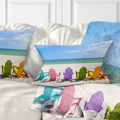 Adirondack Beach Chairs Seashore Photo Pillow Size: 12