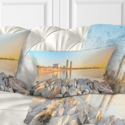 Barceloneta Beach in Barcelona Seashore Photo Pillow Size: 12 x 20, Product Type: Lumbar Pillow