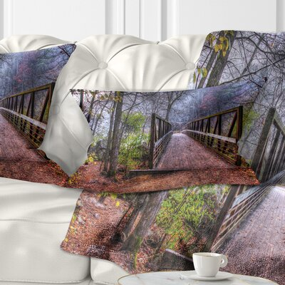 Beautiful Bridge over Creek Landscape Photo Pillow Size: 12 x 20, Product Type: Lumbar Pillow