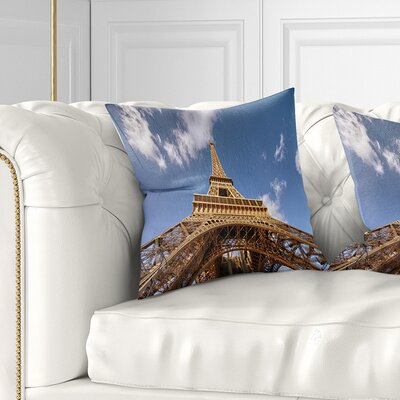 Beautiful View of Paris Eiffel Tower under Calm Sky Cityscape Pillow Size: 16 x 16, Product Type: Throw Pillow
