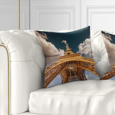 Beautiful View of Paris Eiffel Tower under Dark Sky Cityscape Pillow Size: 16 x 16, Product Type: Throw Pillow