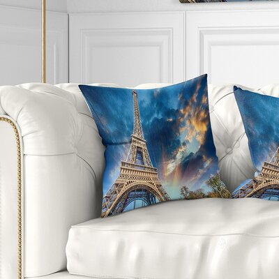 Beautiful View of Paris Eiffel Tower under Fiery Sky Cityscape Pillow Size: 18 x 18, Product Type: Throw Pillow