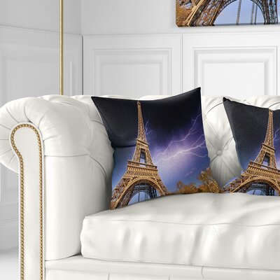 Beautiful View of Paris Eiffel Tower under Sky Cityscape Pillow Size: 26 x 26, Product Type: Euro Pillow