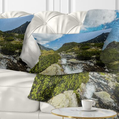 Alpine Stream in High Mountains Landscape Printed Pillow Size: 12 x 20, Product Type: Lumbar pillow