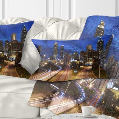 Atlanta Skyline Twilight Hour Cityscape Pillow Size: 12 x 20, Product Type: Lumbar pillow